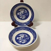 "3 Coupe Cereal Bowls Blue Willow Homer Laughlin 6"" F62N4 - $19.34"