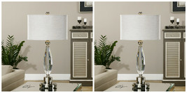"TWO MODERN GLAM DECOR 31"" CUT CRYSTAL TABLE LAMP BRUSHED NICKEL METAL UT... - $620.40"