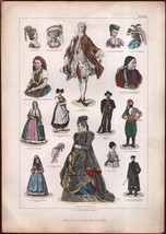 ca1875 Decorative Print Franz von Lipperheide Steel Engraving Fashion Vi... - $37.56