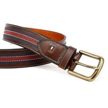 Tommy Hilfiger Men's 35MM Center Stripe Stitch Leather Belt Brown 11TL02X057 image 5
