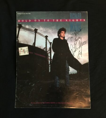 """Vtg 9""""x12"""" RICHARD MARX Hand Signed Autograph Hold On to the Nights Sheet Music"""