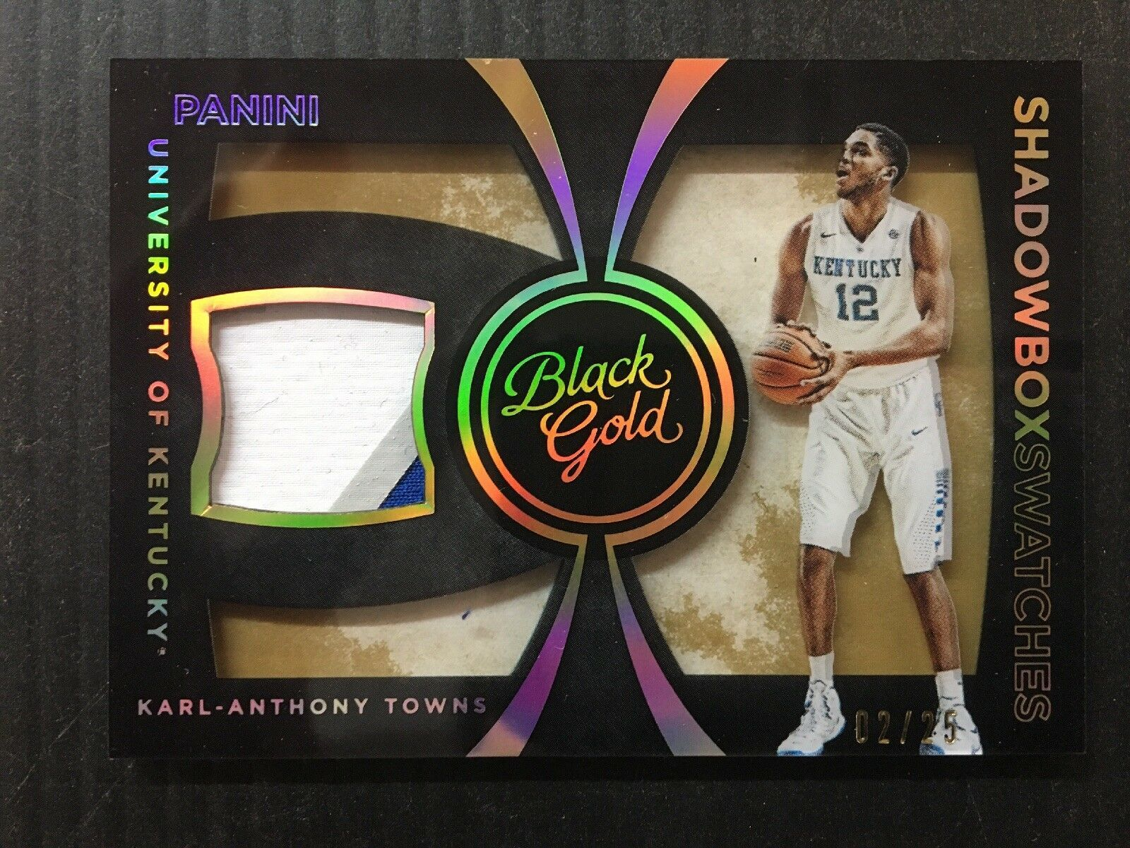 Primary image for KARL-ANTHONY TOWNS 2016 PANINI BLACK GOLD SHADOWBOX SWATCHES /25 3COLOR PATCH B4