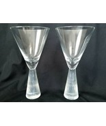 Artland Prescott Clear Frost Crystal Wine Goblets Glasses Art Glass Stem - $40.80