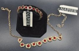 NEW Napier Gold Tone w/ Siam Red Crystal Necklace & Stretch Bracelet Set - $43.64
