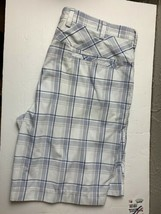 IZOD Men's Bermuda Shorts Size 40 Golf plaid white blue - $13.98
