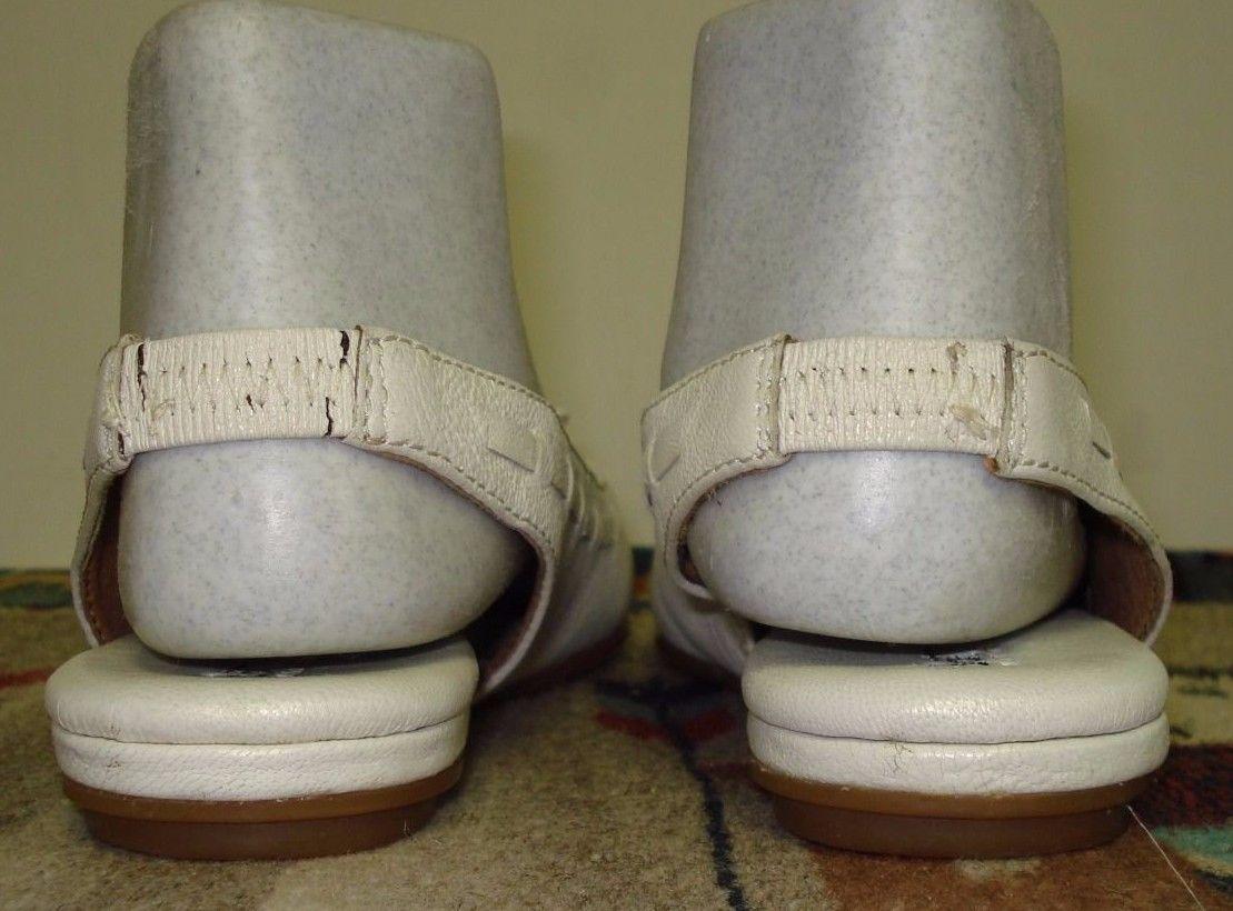 Women's Born White Leather Slingback Flats Super Cute Sz. 37.5/5 US Nice