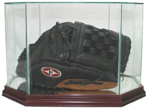 Perfect Cases MLB Octagon Baseball Glove Glass Display Case, Cherry