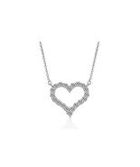 Fashion Women Sterling Silver Zircon Heart Necklace - $18.99