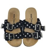 Minnetonka Girls Gigi Slides 11 Black Silver Stars Sandals Shoes Faux Suede - $19.99