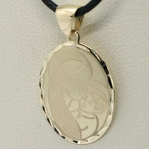 SOLID 18K YELLOW GOLD VIRGIN MARY AND JESUS OVAL MEDAL, 0.8 INCHES, ITALY MADE image 2