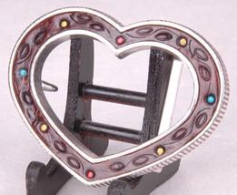 """Leather Heart Belt Buckle-Hand TooledFits 1.5"""" Belt-VTG-Metal-Vintage-Pa... - $21.49"""