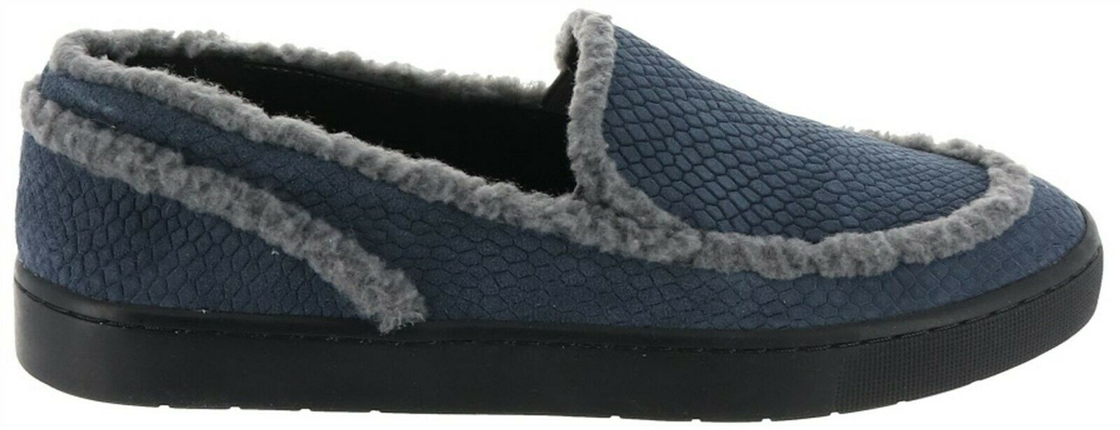 Primary image for LOGO Lori Goldstein Slip On Loafers Shearling Trim GreyBlueSnake 6M NEW A284139