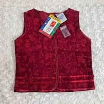 New Girls Sz 4 McKids Corduroy Vest Sparkle Red - $8.59