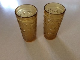 (2) Vintage Amber Glass Tumblers Daisy Indiana ... - $6.79