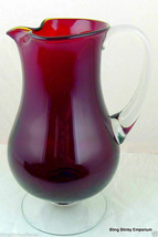 Ruby Red Art Glass Pitcher clear pedestal base and handle - $89.05