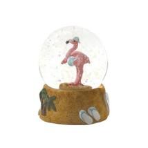 Mini Snow Globe Tropical Pink Flamingo w/ Beach Ball Flip Flops on Base  - $19.45