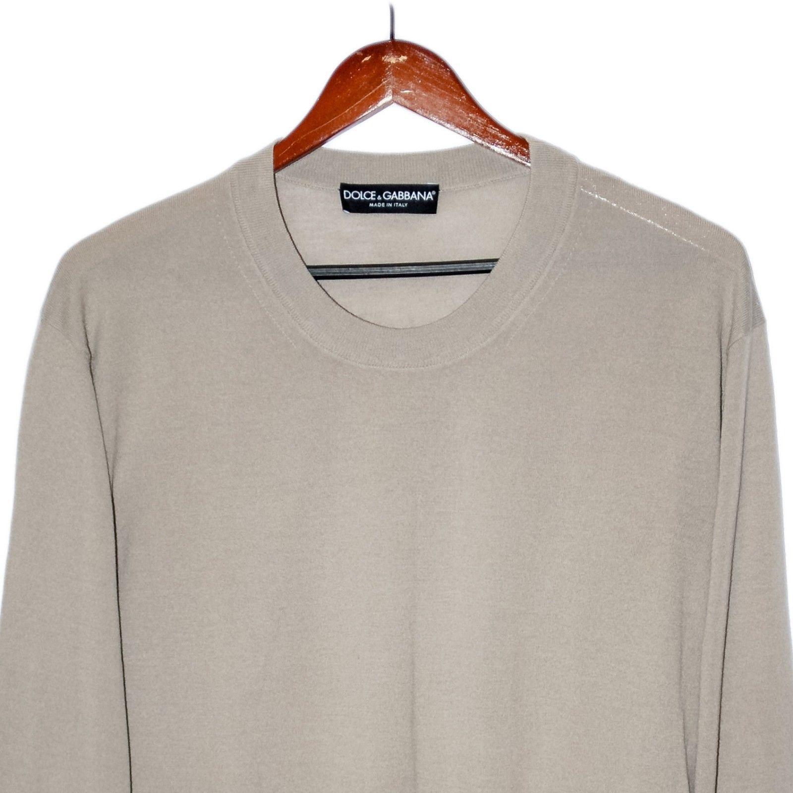 Dolce & Gabbana Beige Wool Jumper Crewneck Sweatshirt Long Sleeve Pullover 2XL