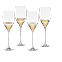 Kate Spade Hampton Street Water Goblets Gold Striped Decorated Set of 4 ... - €99,26 EUR