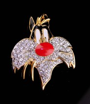 Large Vintage Sylvester Brooch - brilliant rhinestones - cat brooch - Re... - $95.00