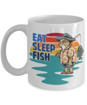 Eat Sleep Fish Outdoor Sport Cat Fisherman Coffee Mug - $14.84+