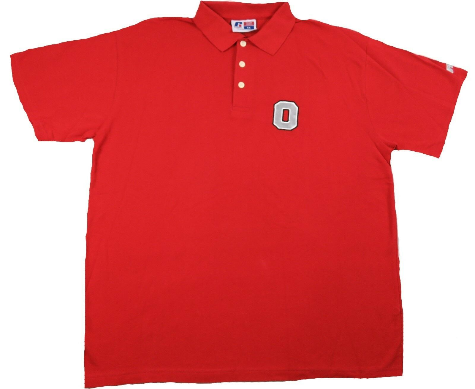 "1XL Big Men's Ohio State Polo Buckeyes Big ""O"" Logo Russell Athletic Shirt NEW"