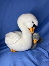 Circo Realistic Animal White Swan Momma With Baby Attached Gosling Plush Toy - $23.99
