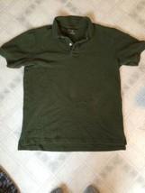 a49309399 Eddie Bauer Mens Olive Green Short Slv Pique Polo Shirt size medium 100%  Cotton -