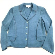 St John Collection Santana Knit Wool Blend Satin Trim Blazer Jacket Size 2  - $247.50