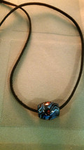 Vintage Glass African Trade Bead Necklace Suede Leather Cord Men Women  - $15.83