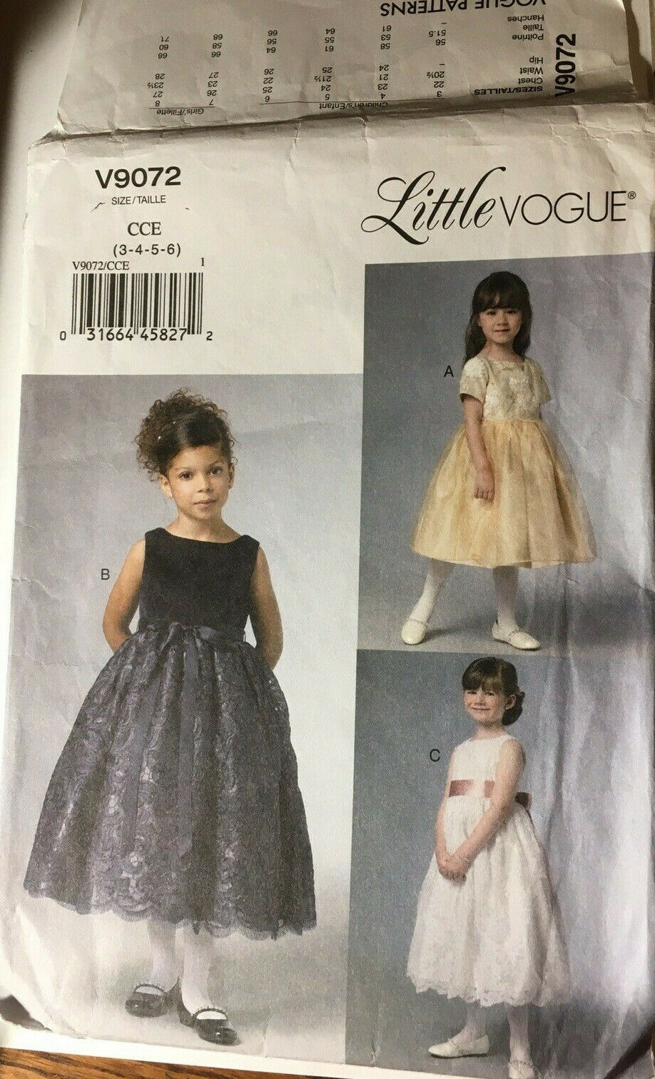 Primary image for VOGUE V9072 Girls Formal Dress Flower Girl 1ST Communion Size 3-8 Sew Pattern