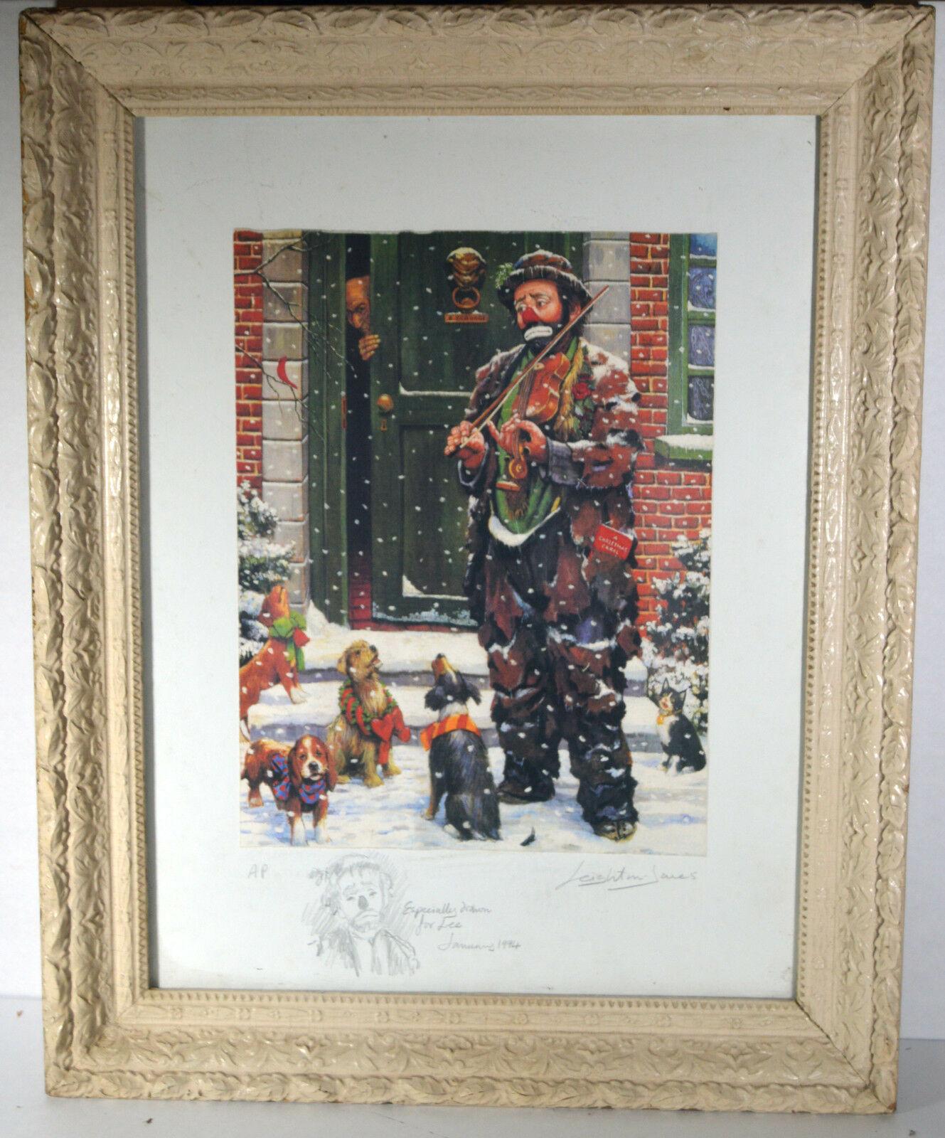 Unique Signed Artist Proof Leighton Jones Emmett Kelly Christmas Carol Scrooge