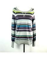 Sonoma Womens Medium Purple Gray Cotton Blend Striped Long Sleeve Sweater  - $13.07