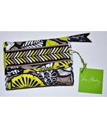 NEW VERA BRADLEY Euro Wallet Citron RETIRED Neon Green Black Gray White - $29.99