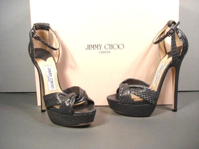 JIMMY CHOO GRETA GREY SNAKE ANKLE STRAP PLATFORM SANDALS CLASSIC 36.5/6.5 NEW