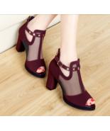 Cute thick heel mesh sandals, 8 cm heels, US size 4-9.5, burgundy - $62.80