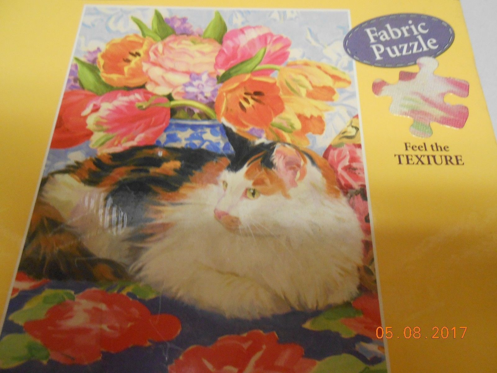 Primary image for New sealed Hallmark fabric puzzle 500 piece Contented Cat collectible Christmas