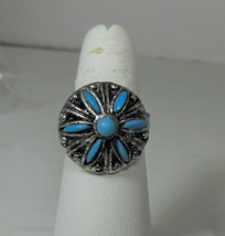 Vintage Silver Tone & Faux Turquoise Southwest Style Ring - $12.86
