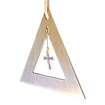 Aluminum and Crystal Triangle Ornament  Cross image 2