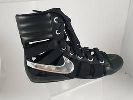 NIKE WOMEN'S SANDALS GLADIATEUR II Leather BLACK/METALLIC SILVER 429881 003 image 2