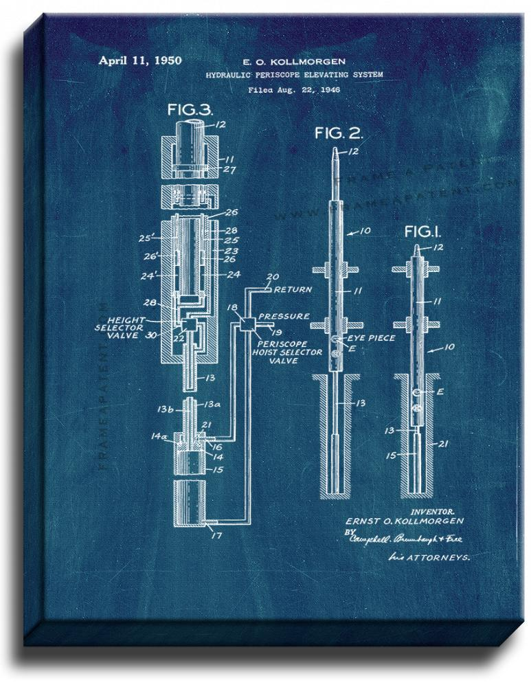 Primary image for Hydraulic Periscope Elevating System Patent Print Midnight Blue on Canvas