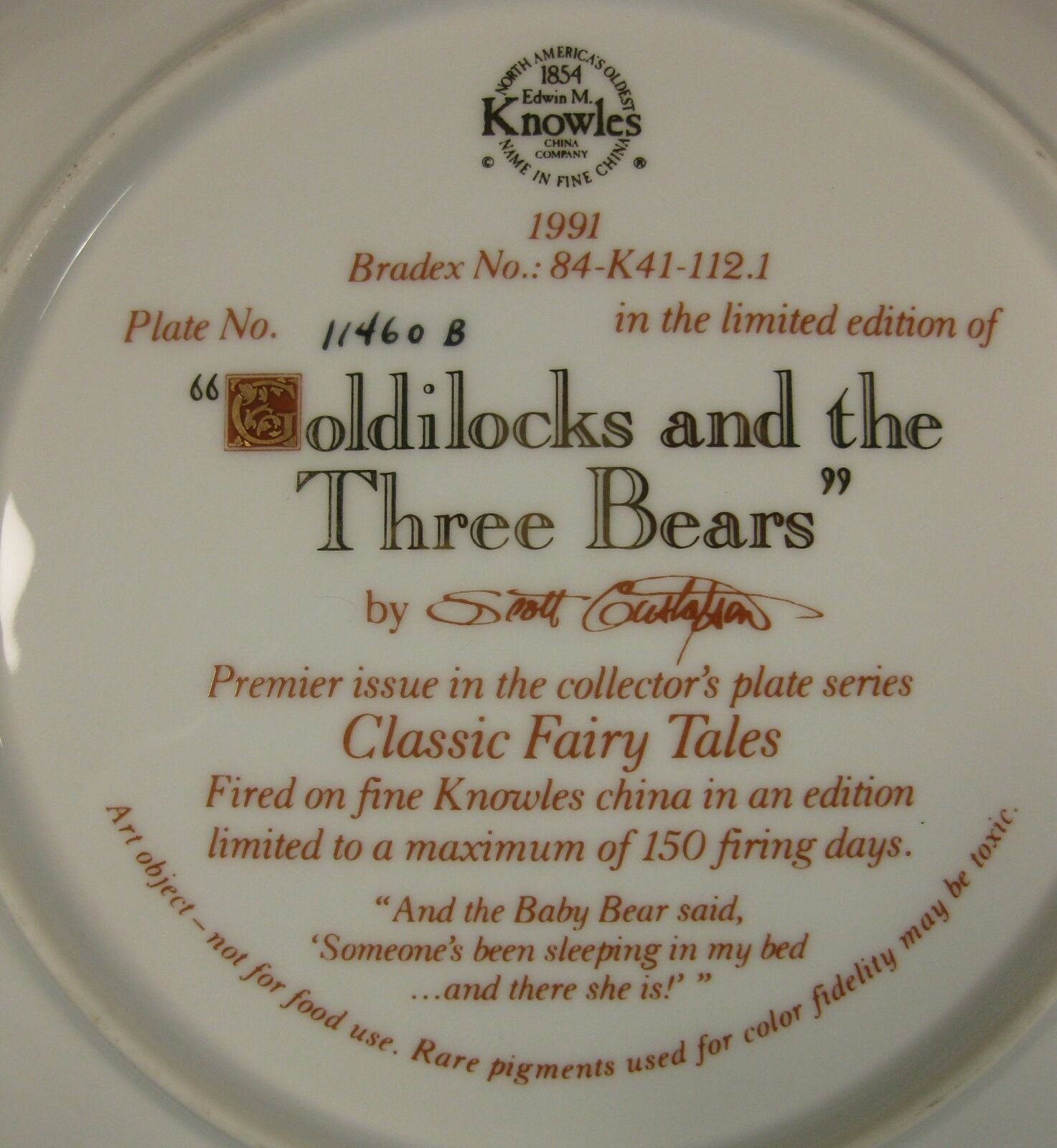 Goldilocks and Three Bears Collector Plate Classic Fairy Tales Scott Gustafson