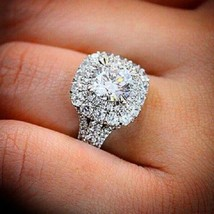 Certified 3.50Ct Round Cut Diamond Double Halo Engagement Ring in 14K Wh... - $319.28