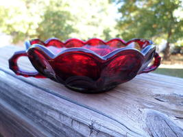 1970s Vintage Ruby Bowl Candy Dish Anchor Hocking Fairfield Collectible ... - $21.52
