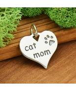 Sterling Silver 'Cat Mom' Heart Charm 16x14mm, 1Pc (13162)/1 - $14.07