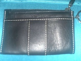 Coach Black Leatherware Small Wallet Coin Purse ID Card Key Chain - $14.90