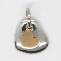 White Rose Gold Pendant 750 18k, Double Stacked Heart, Made in Italy image 2
