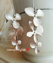 Silver Orchid Earrings Orchid Trio Earrings Matte Silver Orchid Earrings... - $48.00