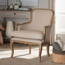 Baxton Studio Napoleon Traditional French Accent Chair In Brown Oak Finish - $480.15
