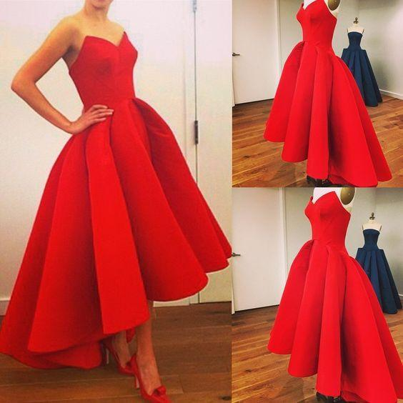 red prom dress,A-line Prom dress,sweetheart prom dress,hi-lo prom dresses