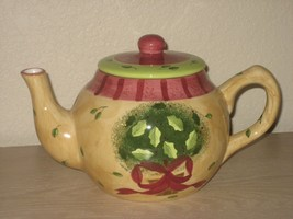 Porcelain Yellow Gold Gates Ware Green Leaf Floral Teapot with Lid Louri... - $17.77
